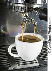 Double Americano being drawn from a professional espresso machine