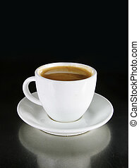 Double Americano in a white coffee cup