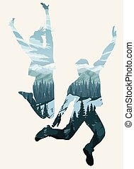 Double exposure, happy jumping people silhouettes