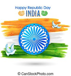 Dove flying with Indian tricolor flag showing peace