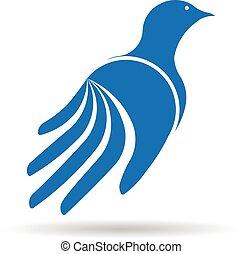 Dove hand logo. Vector graphic design