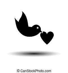 Dove With Heart Icon