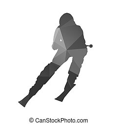 Downhill skier. Abstract vector silhouette