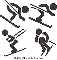 Downhill skiing icons set