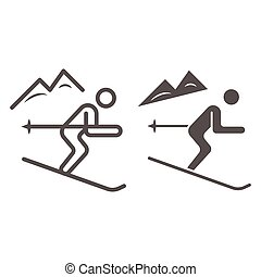 Downhill skiing line and solid icon, Winter sport concept, Snow skiing sign on white background, ski downhill icon in outline style for mobile concept and web design. Vector graphics.