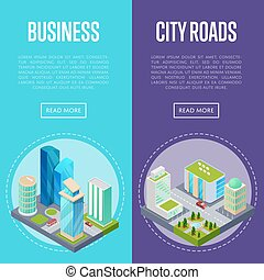 Downtown business district banners set. Skyscrapers, apartment, office, houses and streets with urban traffic movement of car with trees and nature isometric 3D objects. City life vector illustration.
