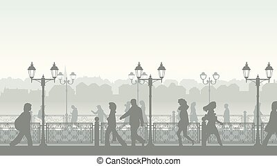 Horizontal illustration of walking people along quay street with fence and streetlights.