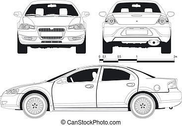 draft modern car. Available EPS-8 vector format separated by groups and layers for easy edit