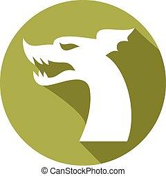 dragon head flat icon