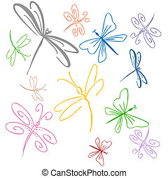 An image of a dragonfly set.