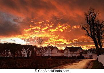 Dramatic sundown in Fredrikstad Norway.