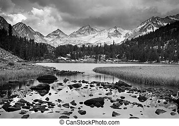 Dramatic Landscape, Mountain in Black and White