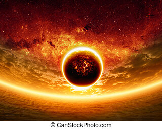 Abstract apocalyptic background - sunset on sea, red sky, exploding planet, end of world. Elements of this image furnished by NASA/JPL-Caltech