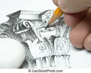 Hand with pencil drawing
