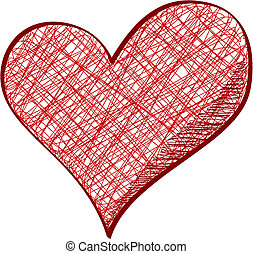 Red heart in pencil drawn style isolated on white background.