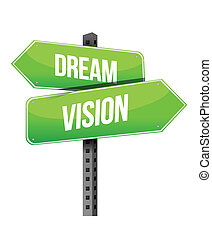 Dream and vision sign illustration design over a white background