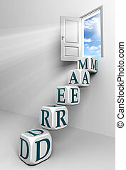 dream conceptual door with sky and box blue word ladder in white room metaphor