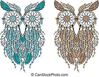 dreamcatcher owl, vector