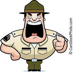 A cartoon drill sergeant yelling.