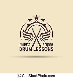 Drum school vector emblem with wings, drumsticks