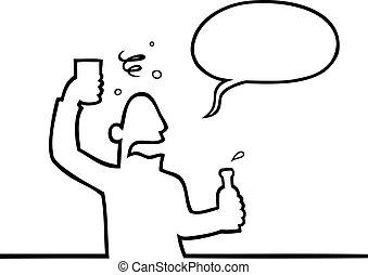 Black line art illustration of a drunk man with a beverage.