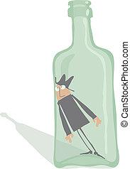 Drunkard inside the bottle, editable vector EPS 8 file.
