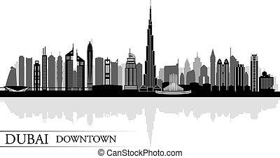 Dubai Downtown City skyline silhouette background, vector illustration
