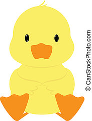 Baby duck seated