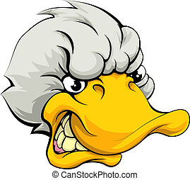 An illustration of a mean looking duck sports mascot