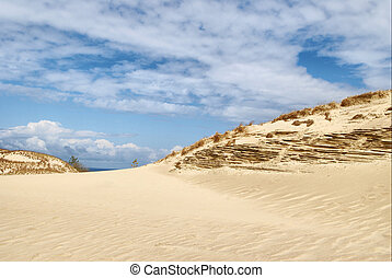 White clouds on blue sky over dunes