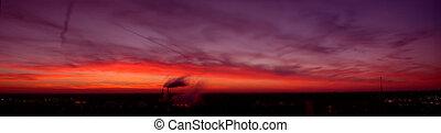 Champaign, IL view at dusk.