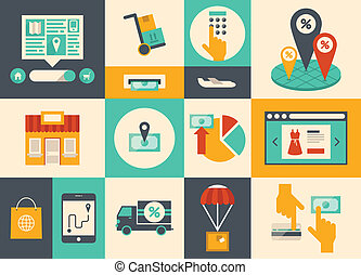 Flat design vector illustration icons of e-commerce symbols, internet shopping elements and online banking objects in retro stylish color. Isolated on colored background