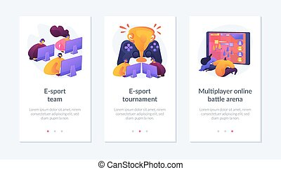 Online games, virtual reality, internet content. Players with joysticks. E-sport-team, e-sport-tournament, multiplayer online battle arena metaphors. Mobile app UI interface wireframe template.