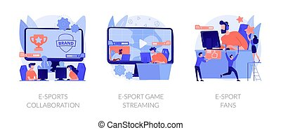 Electronic sports organization, internet team play, online competition. E-sports collaboration, e-sport game streaming, e-sport fans metaphors. Vector isolated concept metaphor illustrations.