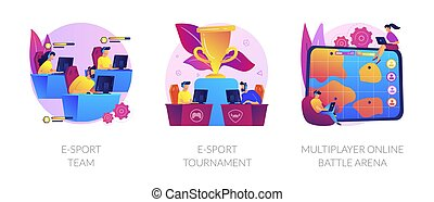 Online games, virtual reality, internet content. Players with joysticks. E-sport-team, e-sport-tournament, multiplayer online battle arena metaphors. Vector isolated concept metaphor illustrations.