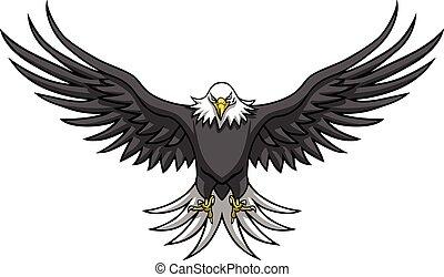 Eagle Mascot Spread The Wings Vector Illustration