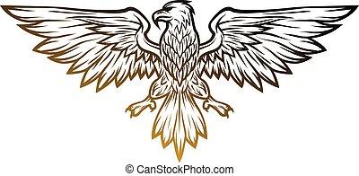 Eagle mascot spread wings. Vector illustration. Line art style.