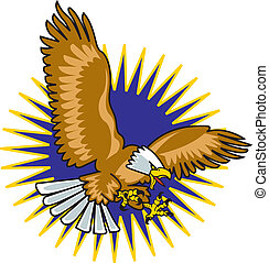 Eagle mascot with wings spread flying through the air with star or starburst background.