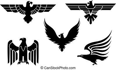 Eagle symbol isolated on white for tattoo design
