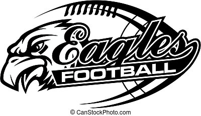eagles football team design in script with tail for school, college or league