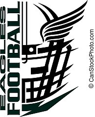 eagles football team design with helmet and wings for school, college or league