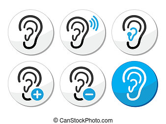 Hearing problem black and blue round labels - sound, implant, ear, deaf