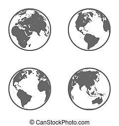 Earth Globe Emblem. Icon Set. Vector