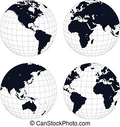 Earth globes, black and white detailed vector illustration.