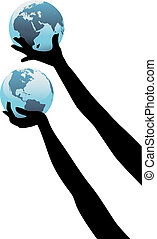 Earth person hands hold up global world