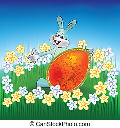 easter background rabbit with egg