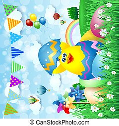 Easter background with chick and Easter eggs, vector illustration