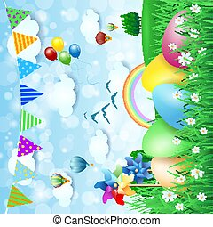 Easter background with countryside and Easter eggs. Vector illustration