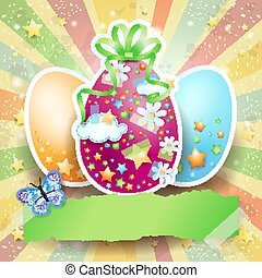 Easter background with Easter eggs and butterfly, vector eps10