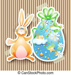 Easter background with egg and bunny, vector eps10